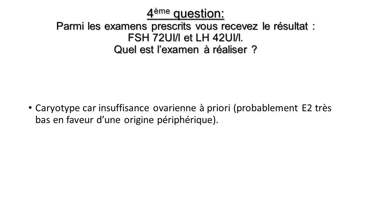 4 ème question: Parmi les examens prescrits vous recevez le résultat : FSH 72UI/l et LH 42UI/l. Quel est lexamen à réaliser ? Caryotype car insuffisan