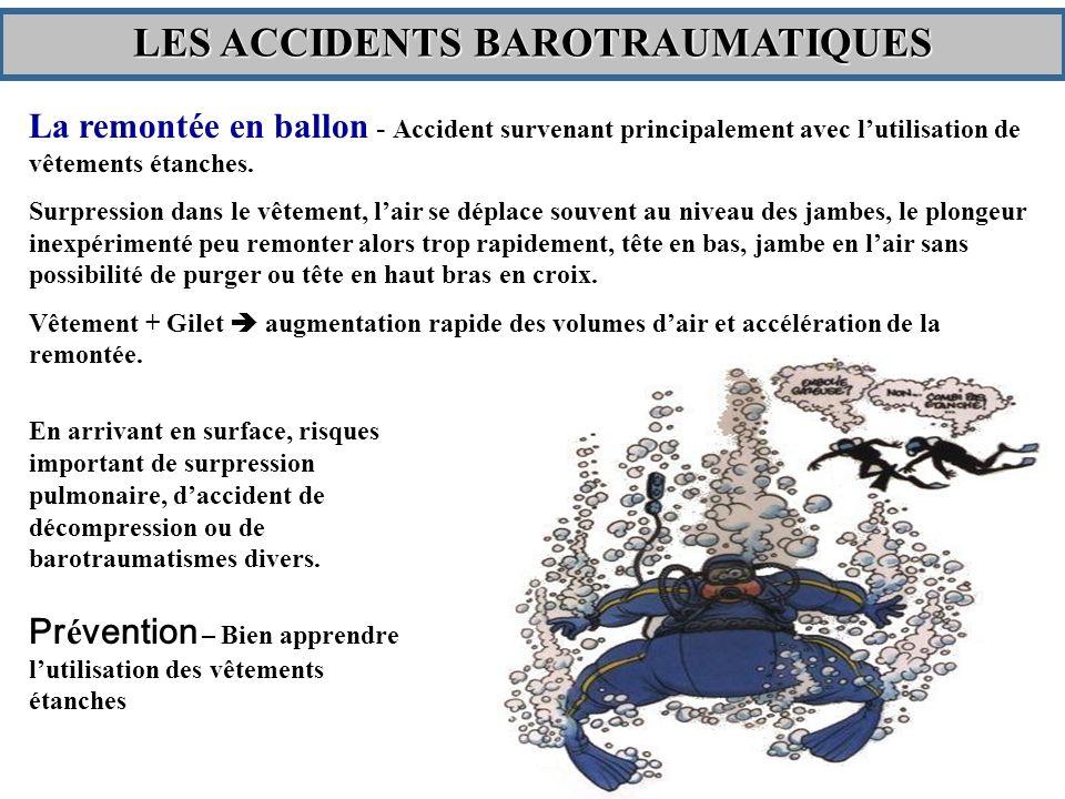 La remontée en ballon - Accident survenant principalement avec lutilisation de vêtements étanches.