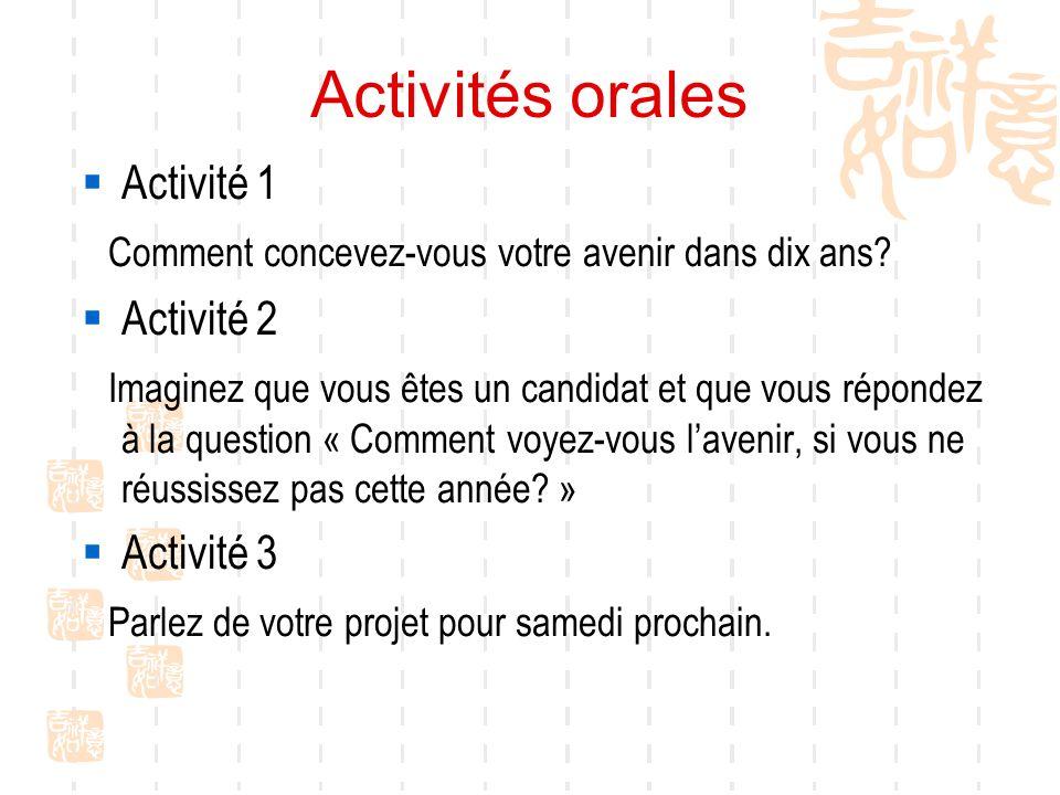 Activités orales pour demain Avec votre partenaire vous préparez Activité 1 Parler du roman en français facile que vous avez lu Activité 2 Vous êtes candidat(e) aux élections de lassociation des étudiants, un journaliste vous interroge sur ce que vous ferez si vous êtes élu(e).