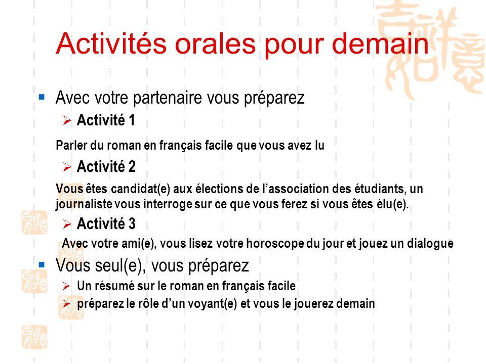 Activités orales pour demain Avec votre partenaire vous préparez Activité 1 Parler du roman en français facile que vous avez lu Activité 2 Vous êtes c