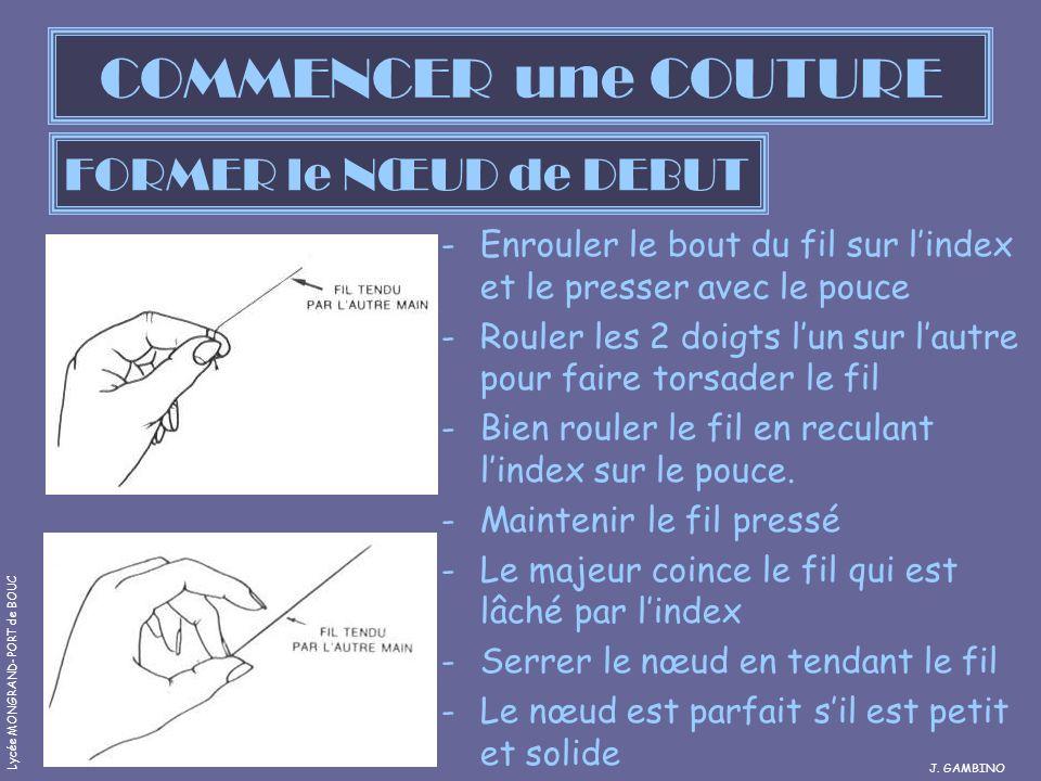 COMMENCER une COUTURE -Enrouler le bout du fil sur lindex et le presser avec le pouce -Rouler les 2 doigts lun sur lautre pour faire torsader le fil -