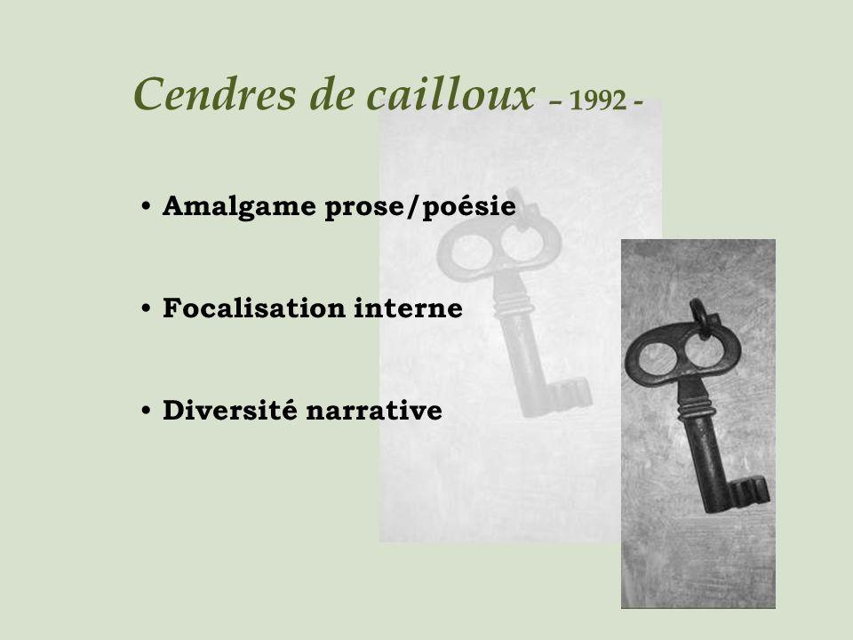 Cendres de cailloux – 1992 - Amalgame prose/poésie Focalisation interne Diversité narrative