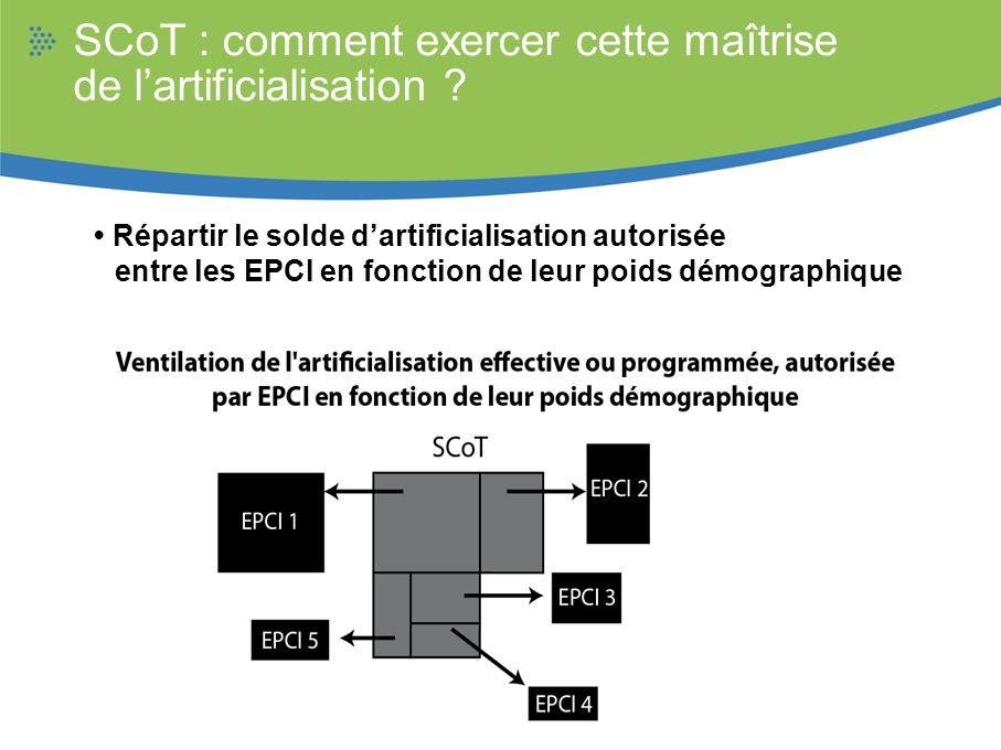 SCoT : comment exercer cette maîtrise de lartificialisation ? Répartir le solde dartificialisation autorisée entre les EPCI en fonction de leur poids