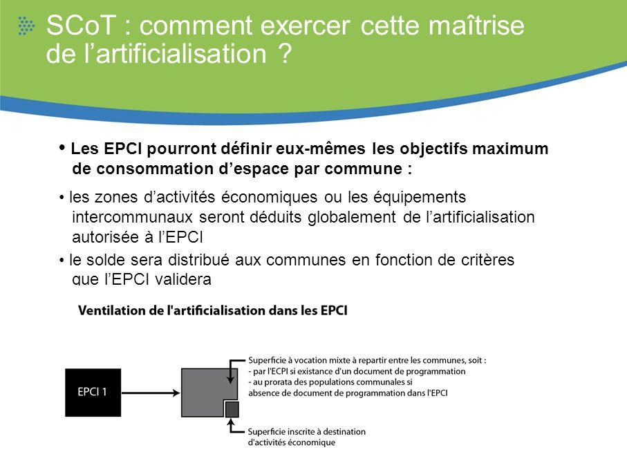 SCoT : comment exercer cette maîtrise de lartificialisation ? Les EPCI pourront définir eux-mêmes les objectifs maximum de consommation despace par co
