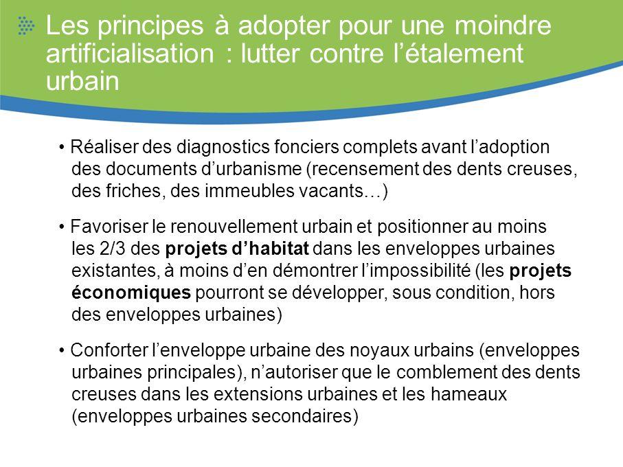 Les principes à adopter pour une moindre artificialisation : lutter contre létalement urbain Réaliser des diagnostics fonciers complets avant ladoptio