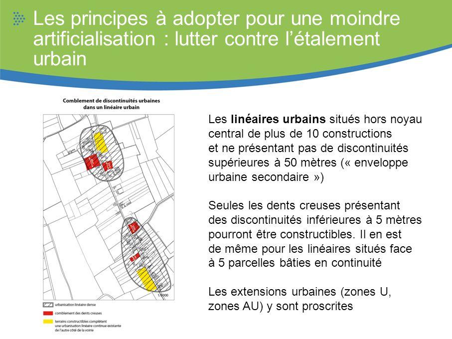 Les linéaires urbains situés hors noyau central de plus de 10 constructions et ne présentant pas de discontinuités supérieures à 50 mètres (« envelopp