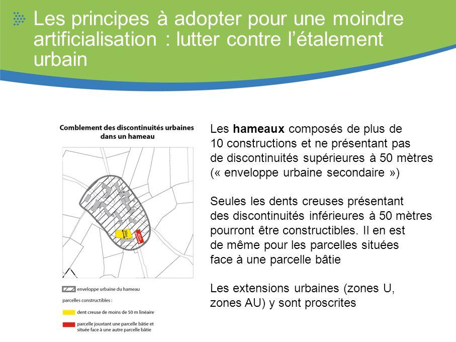 Les hameaux composés de plus de 10 constructions et ne présentant pas de discontinuités supérieures à 50 mètres (« enveloppe urbaine secondaire ») Seu