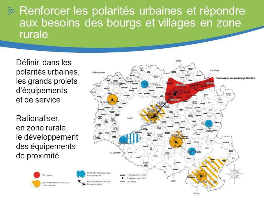 Renforcer les polarités urbaines et répondre aux besoins des bourgs et villages en zone rurale Définir, dans les polarités urbaines, les grands projet