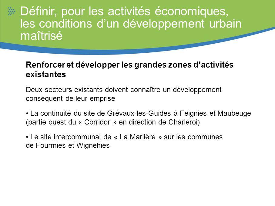 Définir, pour les activités économiques, les conditions dun développement urbain maîtrisé Renforcer et développer les grandes zones dactivités existan