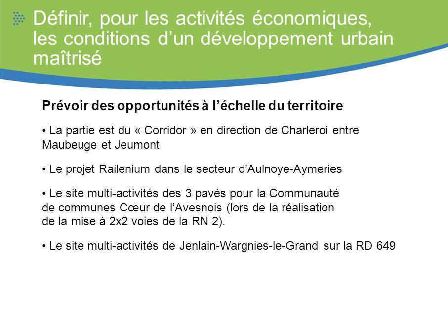 Définir, pour les activités économiques, les conditions dun développement urbain maîtrisé Prévoir des opportunités à léchelle du territoire La partie