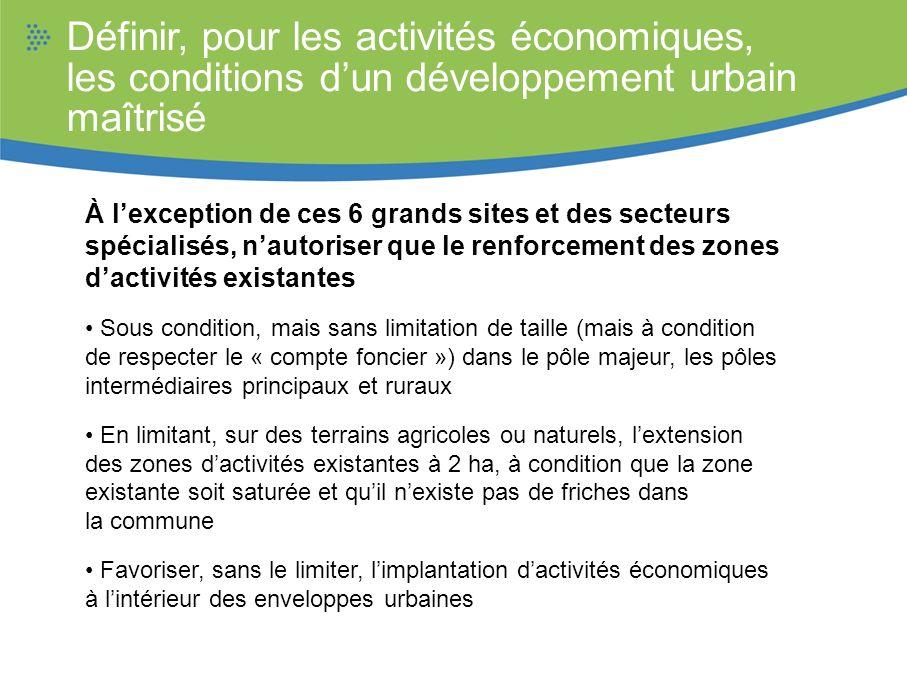 Définir, pour les activités économiques, les conditions dun développement urbain maîtrisé À lexception de ces 6 grands sites et des secteurs spécialis