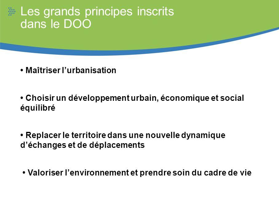 Les grands principes inscrits dans le DOO Maîtriser lurbanisation Choisir un développement urbain, économique et social équilibré Replacer le territoi