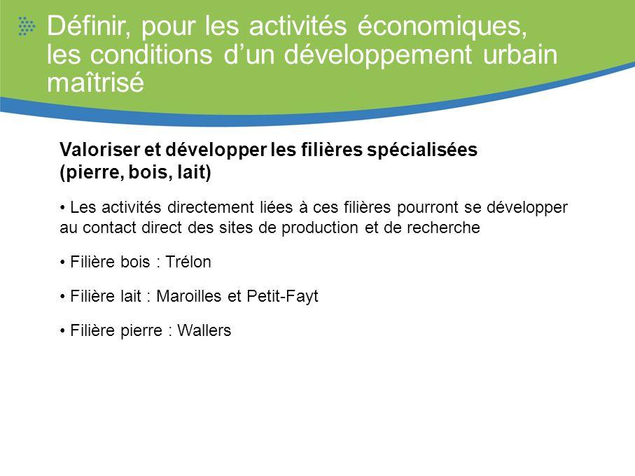 Définir, pour les activités économiques, les conditions dun développement urbain maîtrisé Valoriser et développer les filières spécialisées (pierre, b