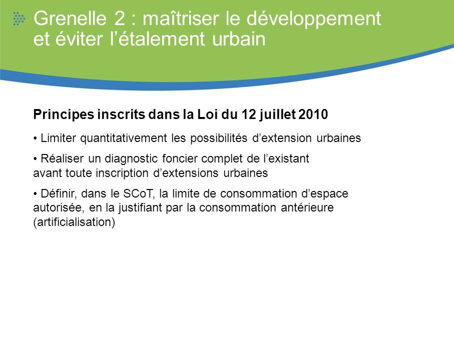 Grenelle 2 : maîtriser le développement et éviter létalement urbain Principes inscrits dans la Loi du 12 juillet 2010 Limiter quantitativement les pos