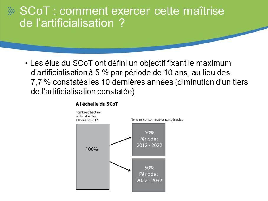 SCoT : comment exercer cette maîtrise de lartificialisation ? Les élus du SCoT ont défini un objectif fixant le maximum dartificialisation à 5 % par p