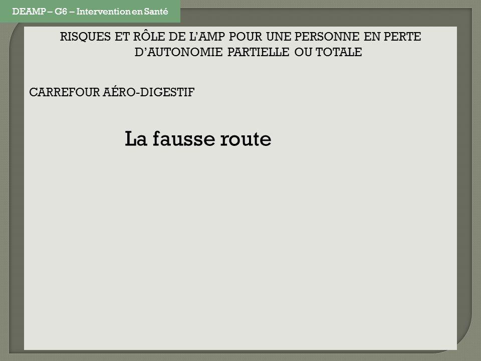 RISQUES ET RÔLE DE LAMP POUR UNE PERSONNE EN PERTE DAUTONOMIE PARTIELLE OU TOTALE CARREFOUR AÉRO-DIGESTIF La fausse route DEAMP – G6 – Intervention en