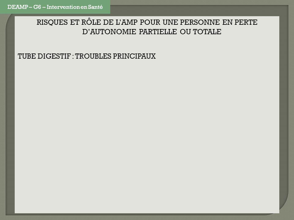 RISQUES ET RÔLE DE LAMP POUR UNE PERSONNE EN PERTE DAUTONOMIE PARTIELLE OU TOTALE TUBE DIGESTIF : TROUBLES PRINCIPAUX DEAMP – G6 – Intervention en San