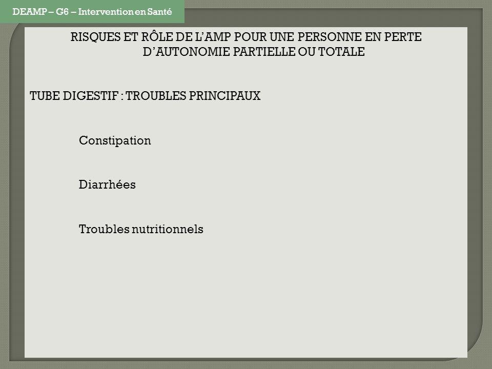 RISQUES ET RÔLE DE LAMP POUR UNE PERSONNE EN PERTE DAUTONOMIE PARTIELLE OU TOTALE TUBE DIGESTIF : TROUBLES PRINCIPAUX Constipation Diarrhées Troubles