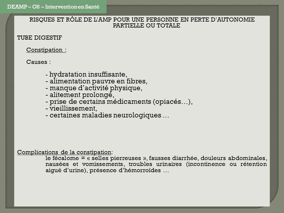 RISQUES ET RÔLE DE LAMP POUR UNE PERSONNE EN PERTE DAUTONOMIE PARTIELLE OU TOTALE TUBE DIGESTIF Constipation : Causes : - hydratation insuffisante, -