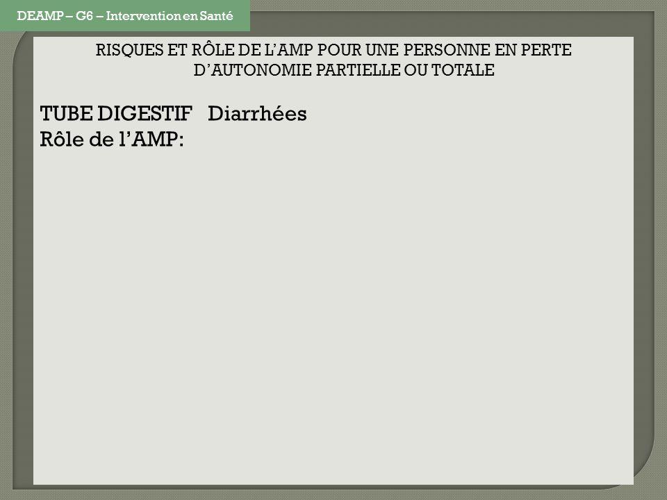 RISQUES ET RÔLE DE LAMP POUR UNE PERSONNE EN PERTE DAUTONOMIE PARTIELLE OU TOTALE TUBE DIGESTIF Diarrhées Rôle de lAMP: DEAMP – G6 – Intervention en S