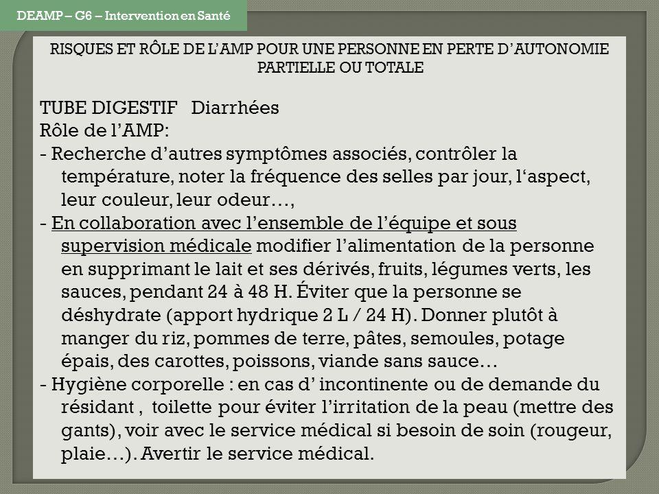 RISQUES ET RÔLE DE LAMP POUR UNE PERSONNE EN PERTE DAUTONOMIE PARTIELLE OU TOTALE TUBE DIGESTIF Diarrhées Rôle de lAMP: - Recherche dautres symptômes