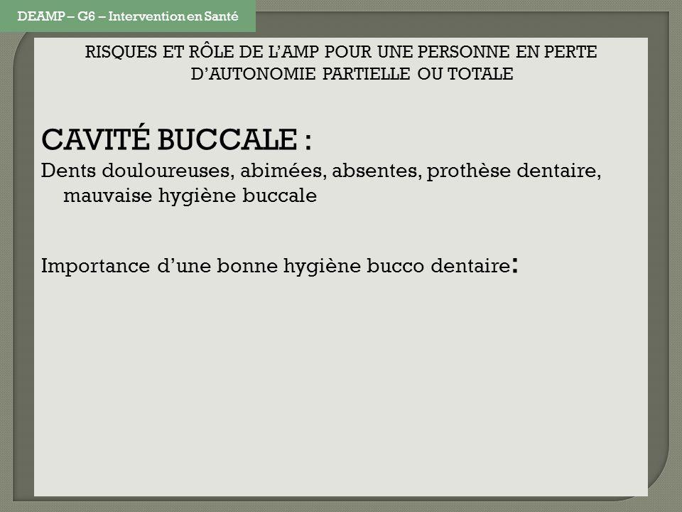 RISQUES ET RÔLE DE LAMP POUR UNE PERSONNE EN PERTE DAUTONOMIE PARTIELLE OU TOTALE CAVITÉ BUCCALE : Dents douloureuses, abimées, absentes, prothèse dentaire, mauvaise hygiène buccale Importance dune bonne hygiène bucco dentaire : Conserver le plus longtemps possible le capital dentaire Prévention des caries (infection, abcès, endocardites), de la plaque dentaire, du tartre, et des problèmes de gencives Répercussion au niveau de lalimentation et de létat de santé Esthétique et vie sociale Le coût des soins dentaires DEAMP – G6 – Intervention en Santé