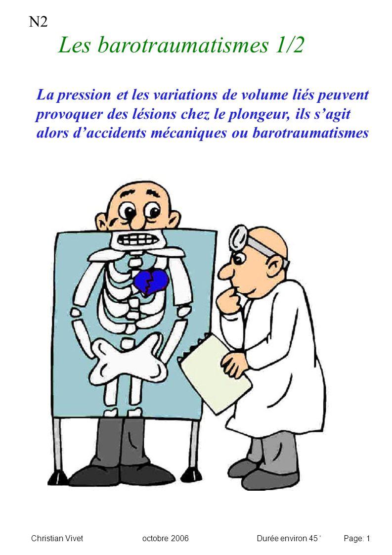 N2 Les barotraumatismes 1/2 Christian Vivetoctobre 2006Durée environ 45 Page: 1 La pression et les variations de volume liés peuvent provoquer des lés