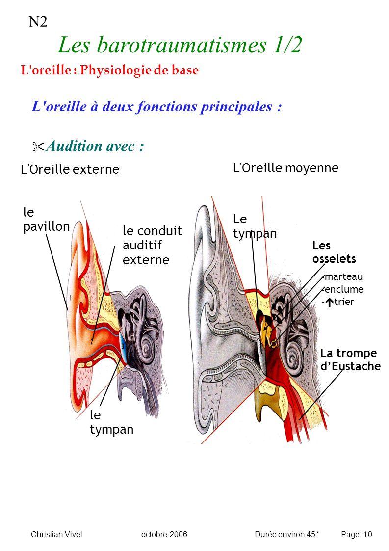 N2 L'oreille : Physiologie de base L'oreille à deux fonctions principales : Audition avec : L'Oreille moyenne L'Oreille externe le tympan le pavillon