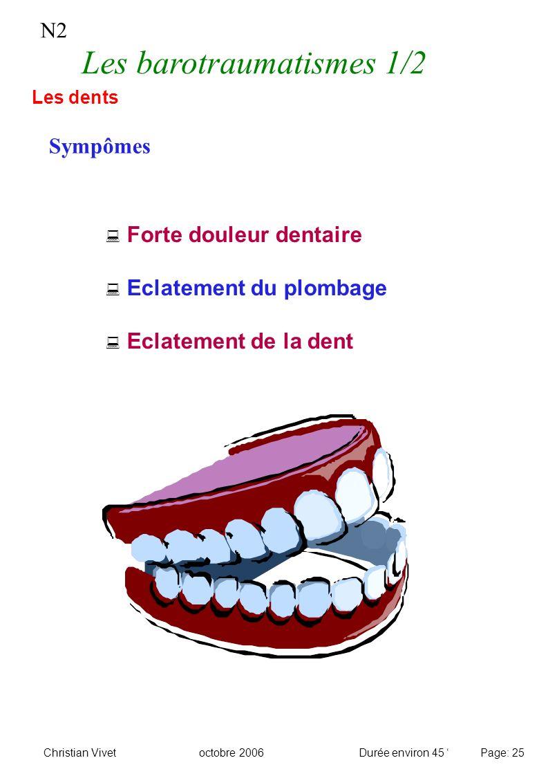 Forte douleur dentaire Eclatement du plombage Eclatement de la dent N2 Les barotraumatismes 1/2 Sympômes Les dents Christian Vivetoctobre 2006Durée en