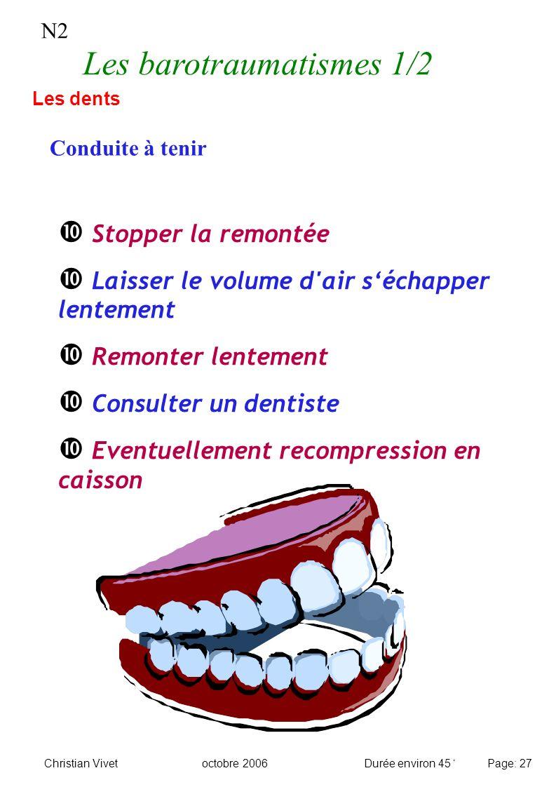 N2 Les barotraumatismes 1/2 Conduite à tenir Les dents Stopper la remontée Laisser le volume d'air séchapper lentement Remonter lentement Consulter un