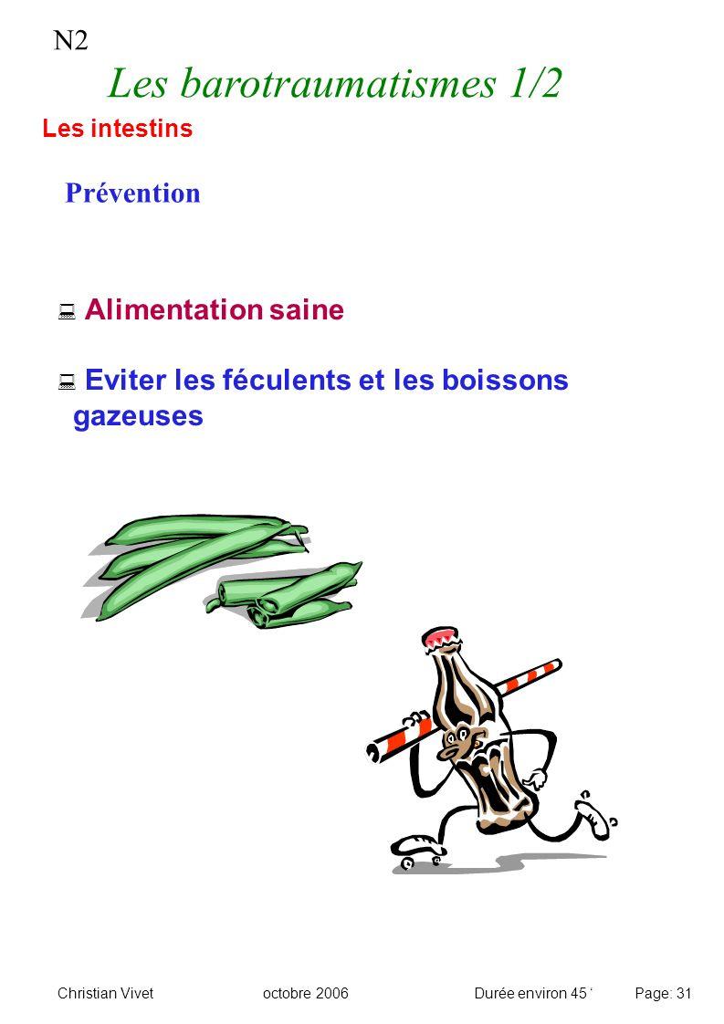 Alimentation saine Eviter les féculents et les boissons gazeuses N2 Les barotraumatismes 1/2 Prévention Les intestins Christian Vivetoctobre 2006Durée
