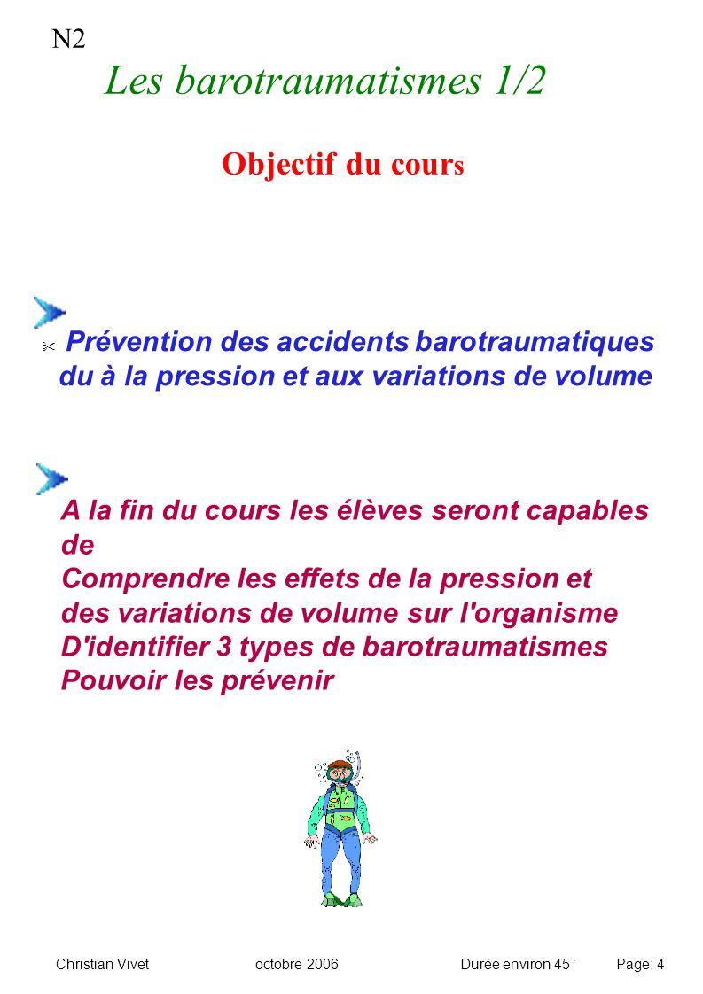 Objectif du cour s Prévention des accidents barotraumatiques du à la pression et aux variations de volume N2 A la fin du cours les élèves seront capab