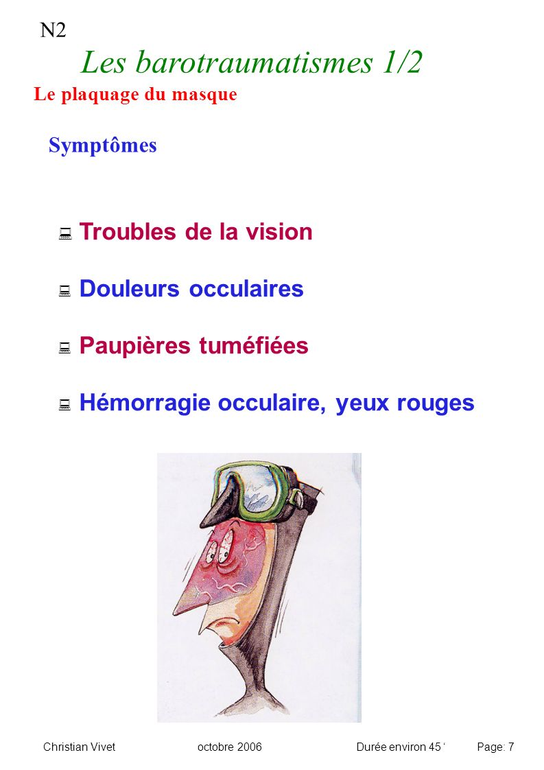 N2 Les barotraumatismes 1/2 Le plaquage du masque Symptômes Troubles de la vision Douleurs occulaires Paupières tuméfiées Hémorragie occulaire, yeux r