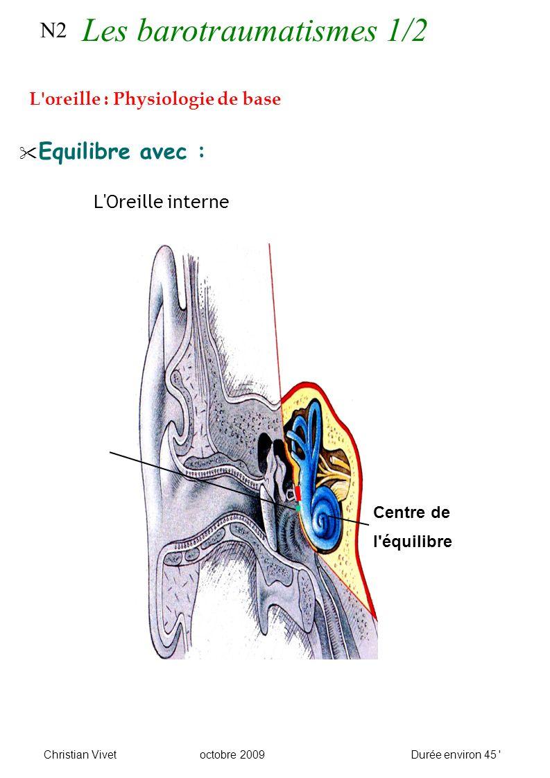 N2 Equilibre avec : L Oreille interne Centre de l équilibre L oreille : Physiologie de base Christian Vivetoctobre 2009Durée environ 45 Les barotraumatismes 1/2