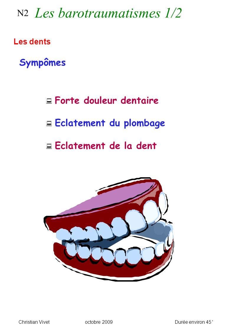 Forte douleur dentaire Eclatement du plombage Eclatement de la dent N2 Sympômes Les dents Christian Vivetoctobre 2009Durée environ 45 Les barotraumatismes 1/2