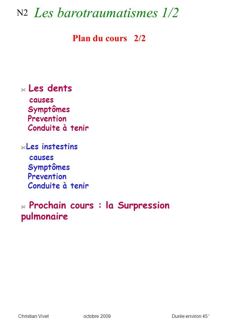 N2 Plan du cours 2/2 Les dents causes Symptômes Prevention Conduite à tenir Les instestins causes Symptômes Prevention Conduite à tenir Prochain cours : la Surpression pulmonaire Les barotraumatismes 1/2 Christian Vivetoctobre 2009Durée environ 45