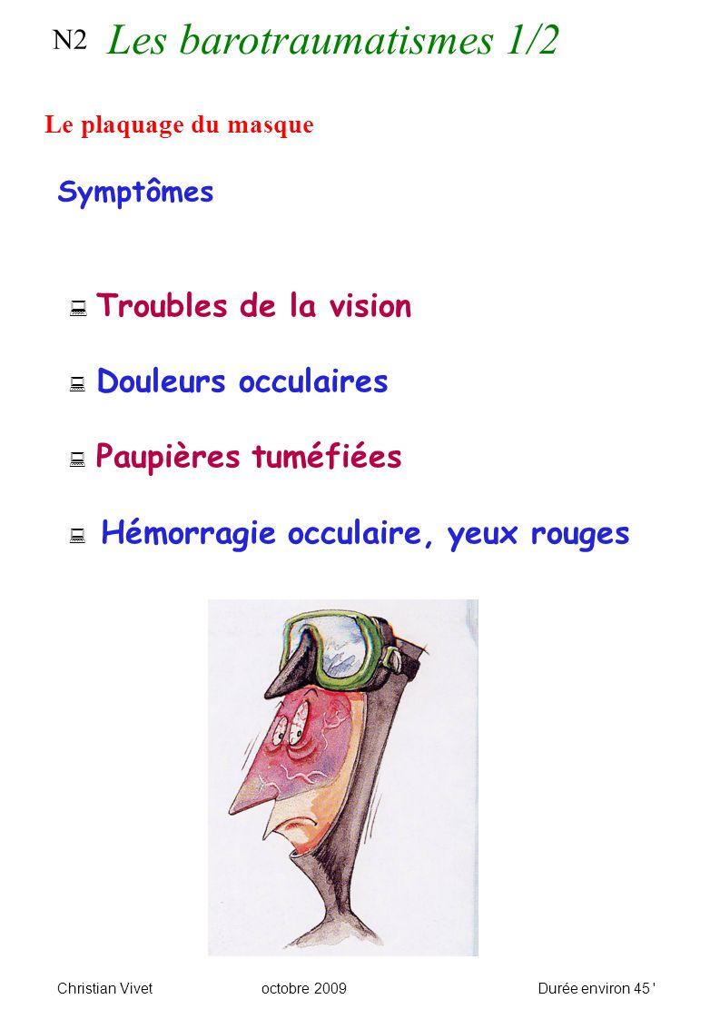 N2 Le plaquage du masque Symptômes Troubles de la vision Douleurs occulaires Paupières tuméfiées Hémorragie occulaire, yeux rouges Christian Vivetoctobre 2009Durée environ 45 Les barotraumatismes 1/2