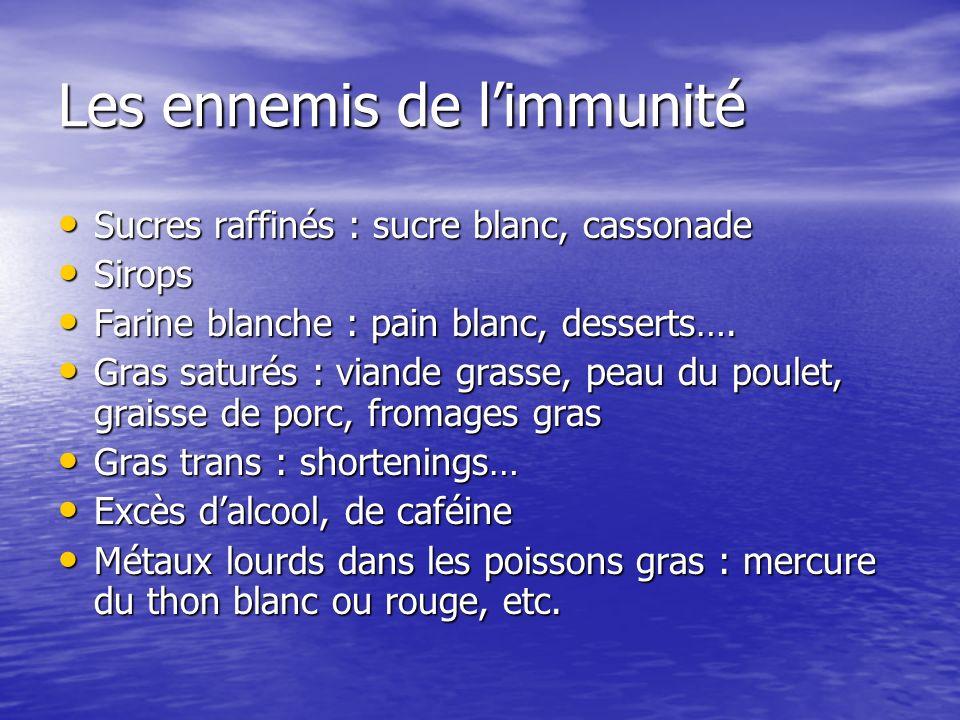Les ennemis de limmunité Sucres raffinés : sucre blanc, cassonade Sucres raffinés : sucre blanc, cassonade Sirops Sirops Farine blanche : pain blanc,