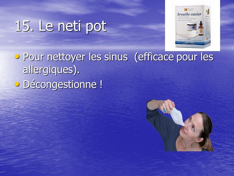 15. Le neti pot Pour nettoyer les sinus (efficace pour les allergiques). Pour nettoyer les sinus (efficace pour les allergiques). Décongestionne ! Déc