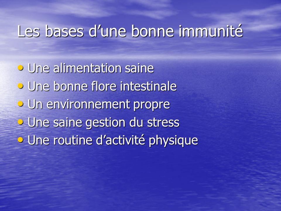 Les bases dune bonne immunité Une alimentation saine Une alimentation saine Une bonne flore intestinale Une bonne flore intestinale Un environnement p