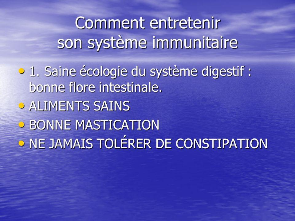 Comment entretenir son système immunitaire 1. Saine écologie du système digestif : bonne flore intestinale. 1. Saine écologie du système digestif : bo