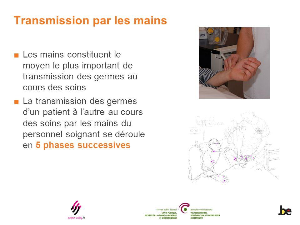 Transmission par les mains Les mains constituent le moyen le plus important de transmission des germes au cours des soins La transmission des germes dun patient à lautre au cours des soins par les mains du personnel soignant se déroule en 5 phases successives