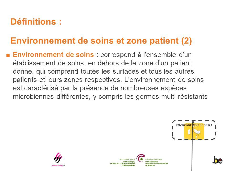 Définitions : Environnement de soins et zone patient (2) Environnement de soins : correspond à lensemble dun établissement de soins, en dehors de la zone dun patient donné, qui comprend toutes les surfaces et tous les autres patients et leurs zones respectives.