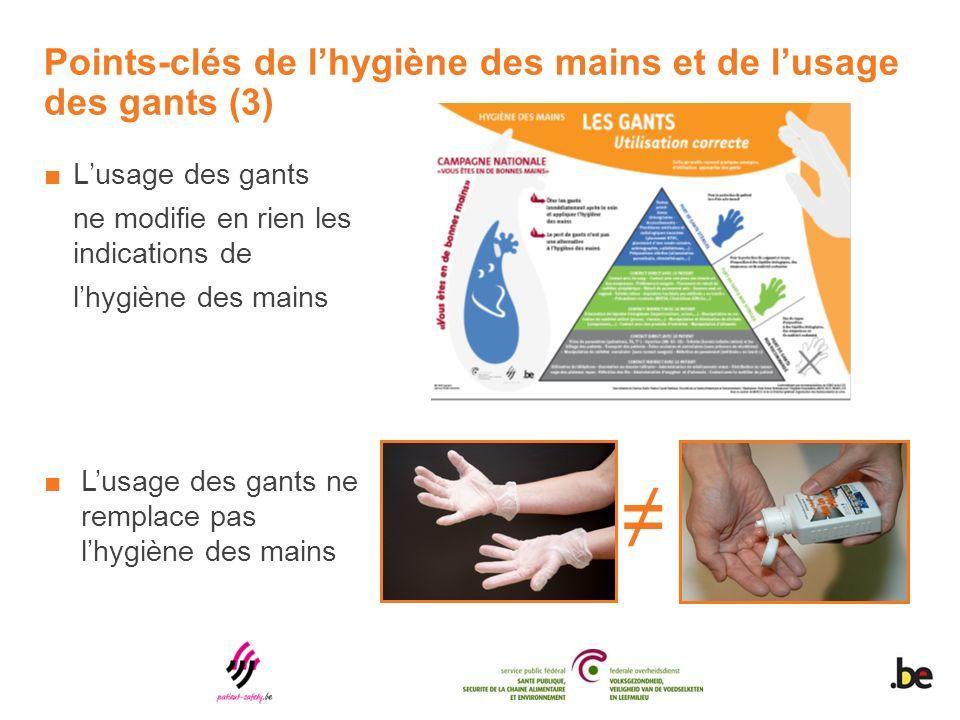 Points-clés de lhygiène des mains et de lusage des gants (3) Lusage des gants ne modifie en rien les indications de lhygiène des mains Lusage des gants ne remplace pas lhygiène des mains