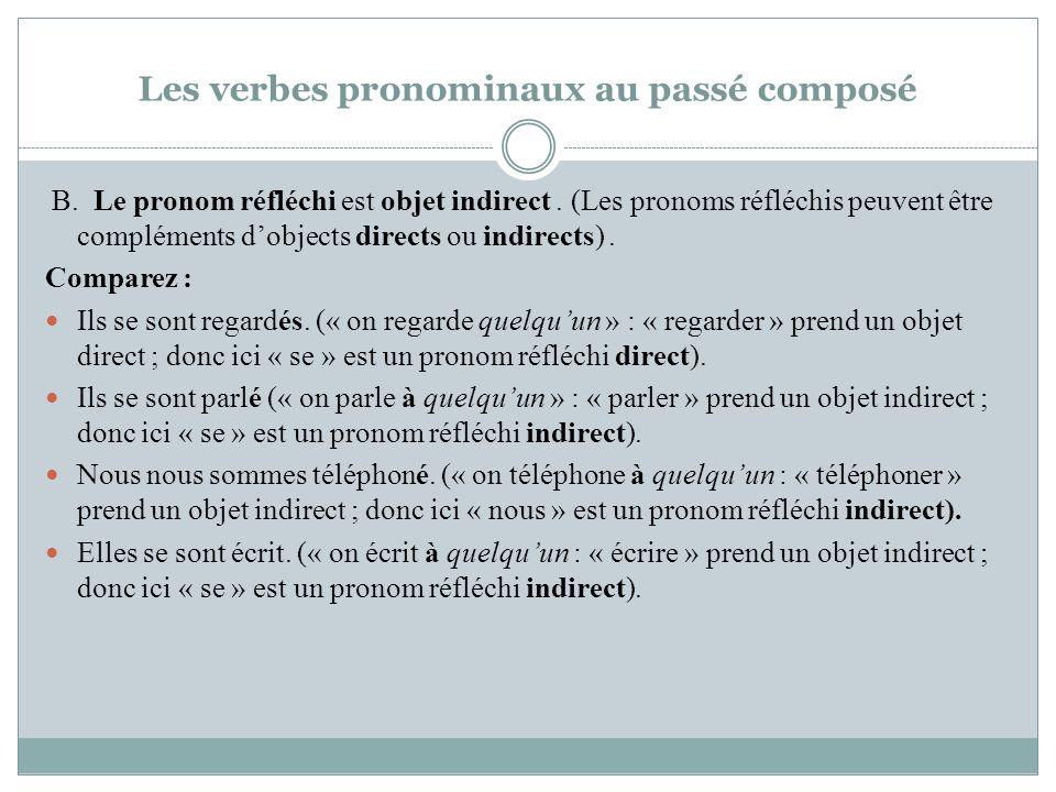 Les verbes pronominaux au passé composé B. Le pronom réfléchi est objet indirect. (Les pronoms réfléchis peuvent être compléments dobjects directs ou