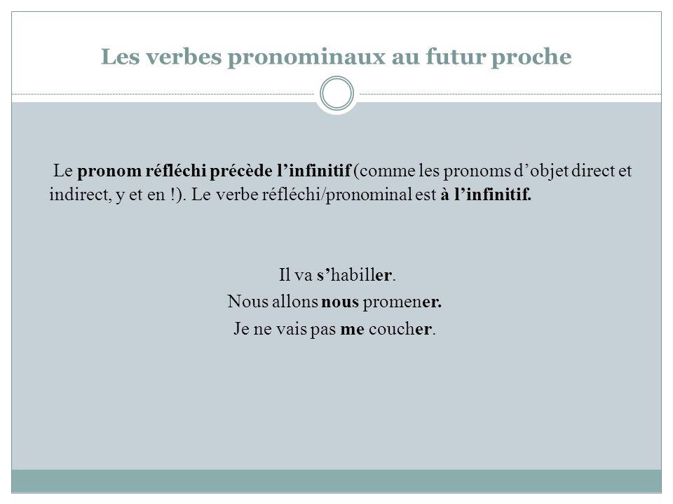 Les verbes pronominaux au futur proche Le pronom réfléchi précède linfinitif (comme les pronoms dobjet direct et indirect, y et en !). Le verbe réfléc