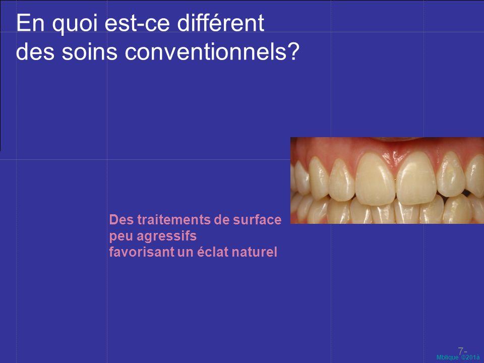 Mblique ©201à En quoi est-ce différent des soins conventionnels? 7- Des traitements de surface peu agressifs favorisant un éclat naturel