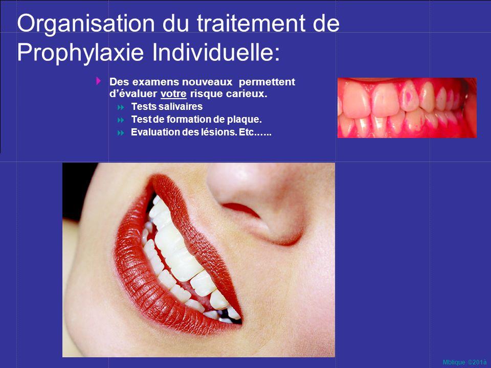Mblique ©201à Organisation du traitement de Prophylaxie Individuelle: Des examens nouveaux permettent dévaluer votre risque carieux. Tests salivaires