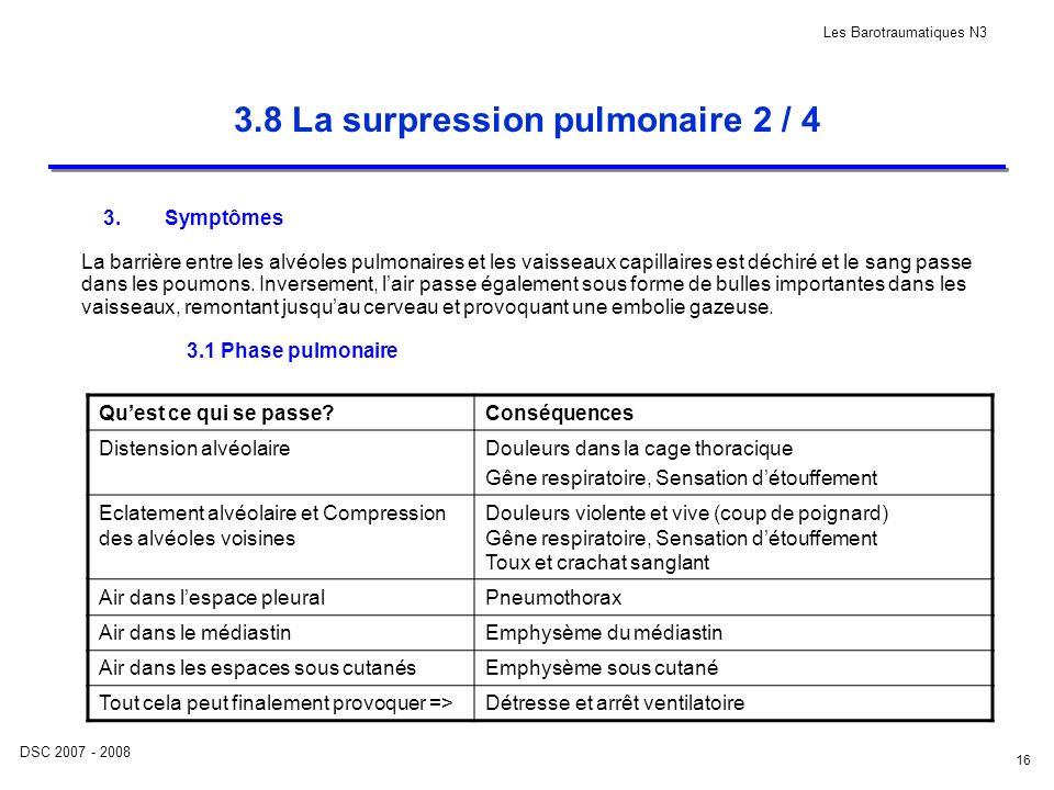 DSC 2007 - 2008 Les Barotraumatiques N3 16 3.8 La surpression pulmonaire 2 / 4 3.Symptômes La barrière entre les alvéoles pulmonaires et les vaisseaux