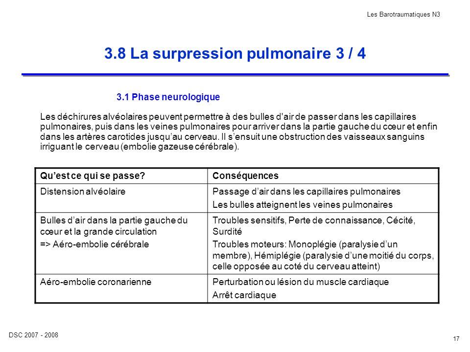 DSC 2007 - 2008 Les Barotraumatiques N3 17 3.8 La surpression pulmonaire 3 / 4 3.1 Phase neurologique Les déchirures alvéolaires peuvent permettre à d